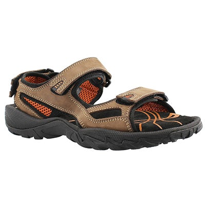 SoftMoc Men's LUCIUS brown 3 strap sport sandals