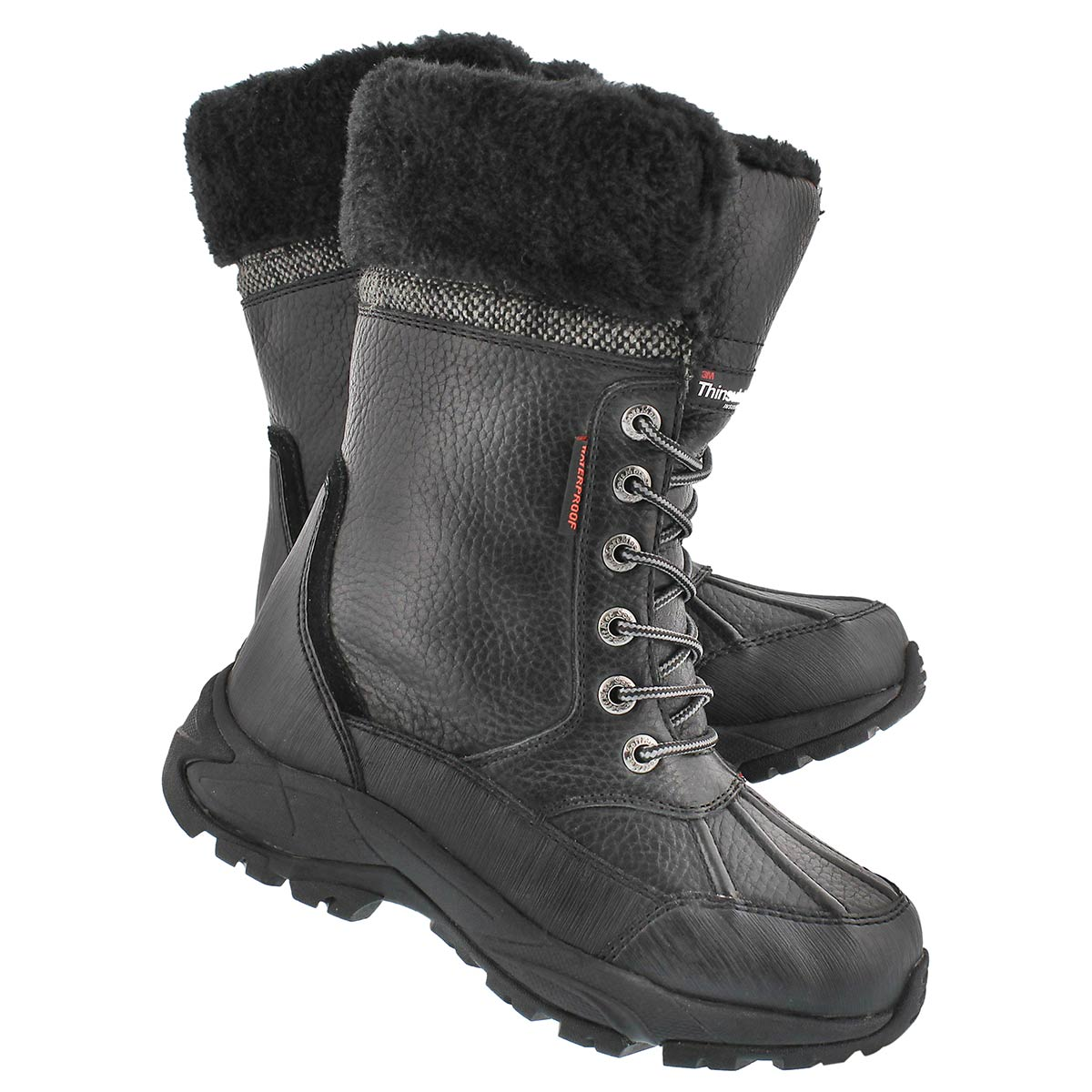Lds Megan black lace-up wtpf winter boot