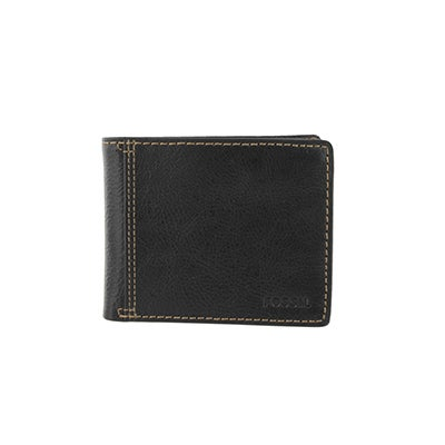 FOSSIL Men's BRADLEY SLIM bifold black leather wallet