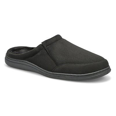 SoftMoc Men's POLAR II black microsuede open back slippers