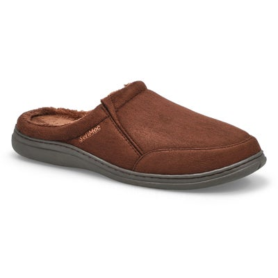 SoftMoc Men's POLAR II brown microsuede open back slippers