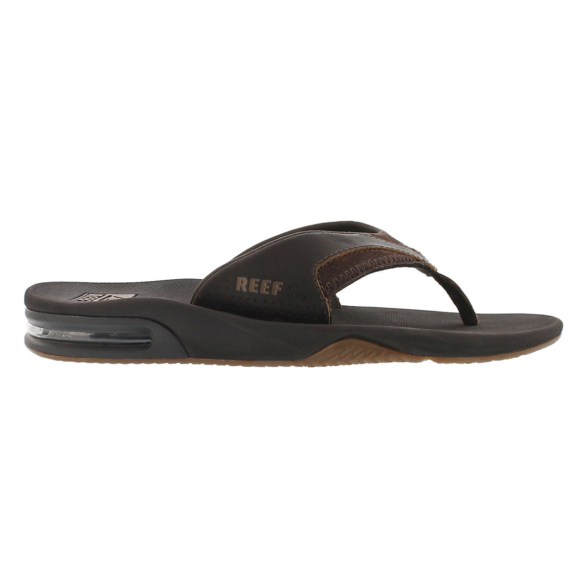 Mns Leather Fanning brown thong sandal