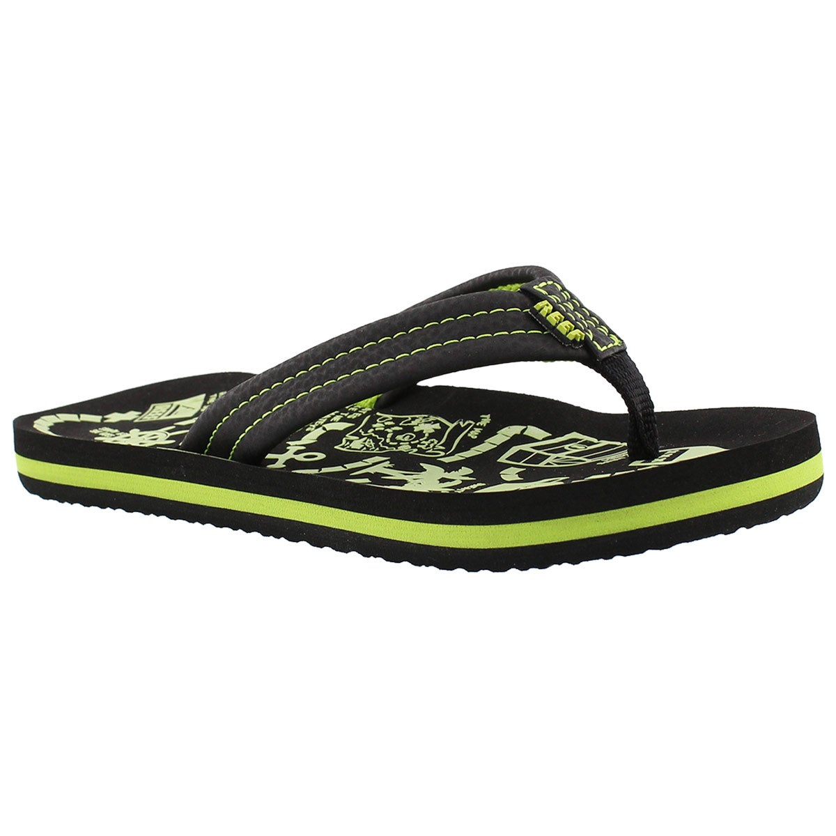 Boys' AHI GLOW black/green flip flops