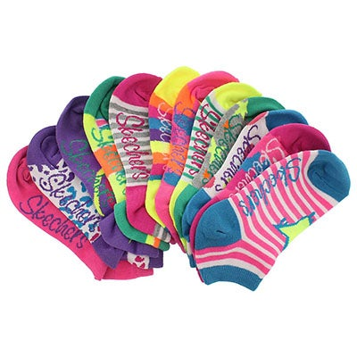 Skechers Girls' LOW CUT NO TERRY multi MED socks 6pk