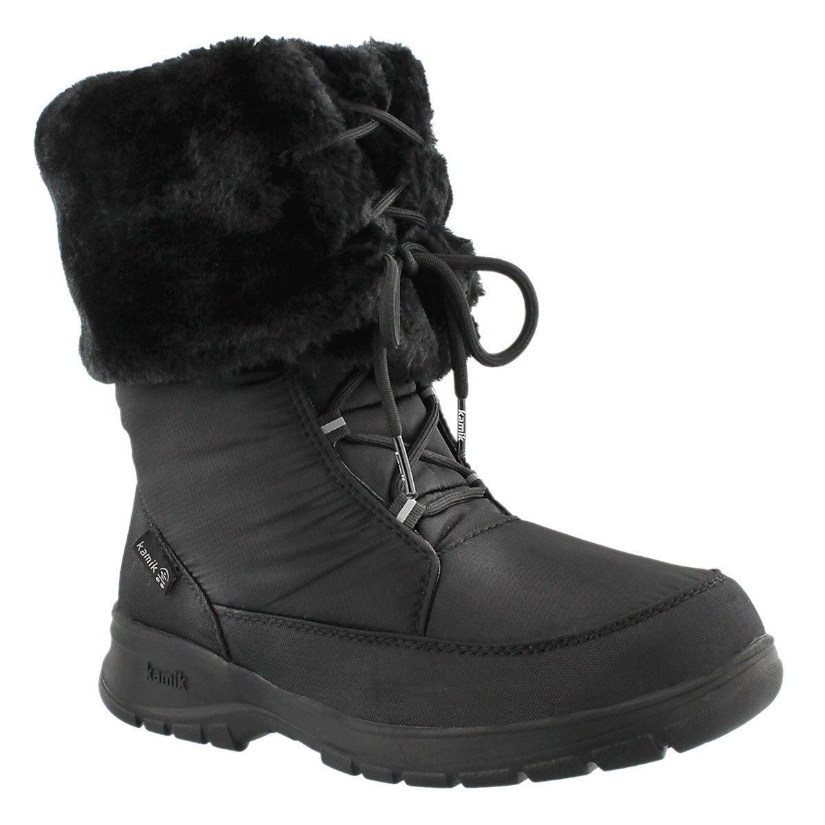 Women's SEATTLE black lace-up winter boots