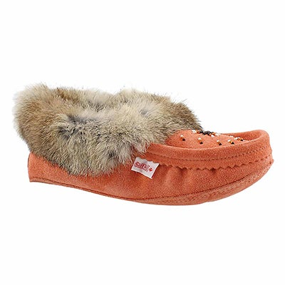 SoftMoc Women's SF600 coral rabbit fur moccasins