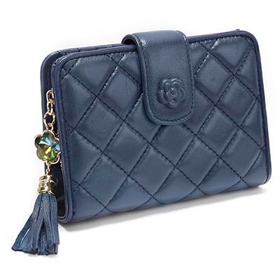 S-Q Women's SQW1517 navy quilted snap shut wallet