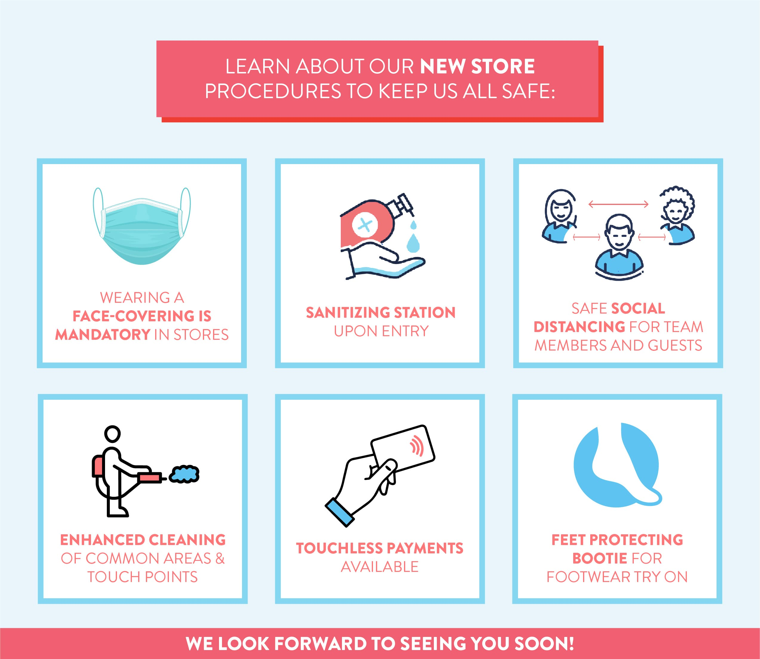 Learn about our new store procedures to keep us all safe